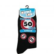Geen Sokken verkeersbord 50 jaar Sara verjaardagssokken / feestsokken