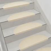 Комплект от 15 броя самозалепващи се килими (стелки) за стълби[en.casa]®, 280 g/m² , Полукръг, Бежов