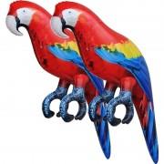 Geen 2x Opblaasbare ara papegaaien vogels 25 cm decoratie/speelgoed