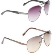 VS Club Aviator, Oval Sunglasses(Brown, Violet)