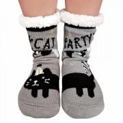 Ciorapi Imblaniti si Caldurosi Lady-Line Model 'Cat Party' Gray
