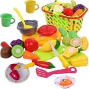 Funerica Cutting Play Vegetables and Fruits with Cooking Toys for Toddlers - Includes Beautiful Plastic Food Toys, Cut Toy Food, Kids Mini Cook-Top, Utensils, Pot, 3 Play Kitchen Plates 2 Cups