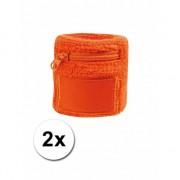 Bellatio Decorations Oranje zweetband met ritsje 2 stuks