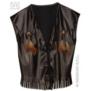 Leatherlook gilet cowboy - zwart