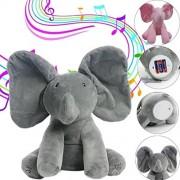 Vibola Elephant Baby Soft Talking Plush Toy Singing Stuffed Animated Animal Kid Doll Gift (gray)