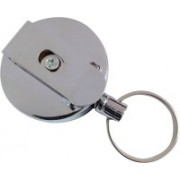 Business Choice Metal Retractacble ID card yoyo with steel cord 3 Card Holder(Set of 1, Silver)