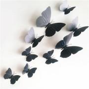 Fluturaşi autoadezivi 3D cu magnet, negru, 12 buc