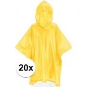 Merkloos 20x Kinder regen poncho geel