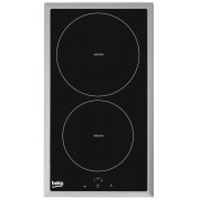 Plita incorporabila Beko HDMI32400DTX, 2 zone inductie, Touch control, Timer, 30 cm, Neagra, Rama inox