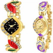 The Shopoholic Combo Latest Fashionable Gold And Black Stainlais Steel Dial Analog Watch For Girls -Combo Watch In Ladies