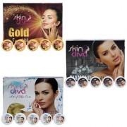 Skin Diva Diamon Pearl Gold Facial Kit Set of 3 C-514