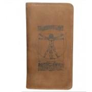 Kan Valentine Day Gift-Tan Hunter Leather Cheque Book Holder/Passport Holder/Business Card Holder for Men & Women(Tan)