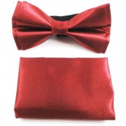 Voici France- Pre knot double layer Maroon / wine color bow Tie with Pocket Square