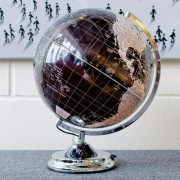 Illuminated World Globe, Touch Lamp. Black and Silver.