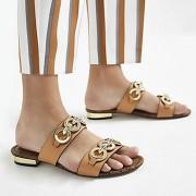 River Island Womens Light Brown circle chain mule sandals (7)