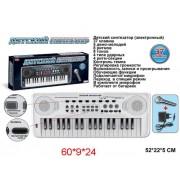 Синтезатор 37 клавиши, белый, эл. звук, микрофон, запись, тоны, ритмы элементы питания не входят в комплект.