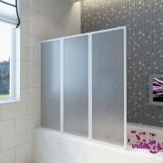 vidaXL Pregrada za kadu s 3 sklopiva panela, 117 x 120 cm
