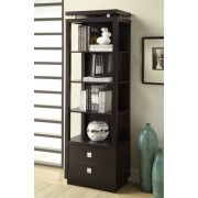 4 tiered shelf and 2 storage drawers espresso finish wood side media tower shelf unit