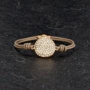 BAGISIMO SELECTION Dámský kožený náramek se zdobeným kroužkem - světle hnědý PL19