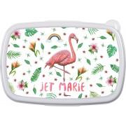 Gepersonaliseerde lunchbox - kind - meisje - school - flamingo - regenboog - handgeschilderd door Mies - aquarel
