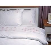 Lenjerie de pat dubla brodata,Inner Arhitecture, 240x260 cm, 6 piese, Alb