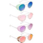 NuVew Round, Shield Sunglasses(Green, Blue, Pink, Violet, Red, Golden)