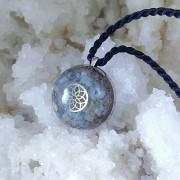 Pandantiv mandala zen, acvamarin, agat albastru, cuart rutilat, calcopirita. Seninatate