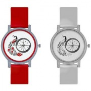 Octus Peacock Red And White Colour Round Dial Analog Watches Combo For Girls And Womens