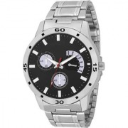 IIK Collection Black Silver Metal Strep Fogg Latest Designing Stylist Looking Professional Analog Watch For Men