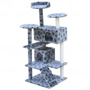 vidaXL Cat Tree Scratching Post 126 cm 2 Houses Grey with Paw Prints