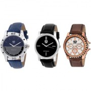 Om Collection Blue and White and Black Dial Mens Casual and Formal and Classy watch ComboSET OF 3 pcs-omwt-77