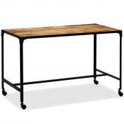 vidaXL Mesa de jantar madeira de mangueira maciça e aço 120x60x76 cm