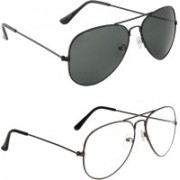 Zyaden Aviator Sunglasses(Black, Clear)