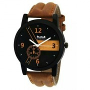 Hwt black dail brwon leather strap party wear watches for mens 6 month warranty