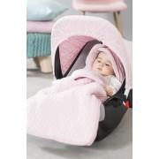 Sac de iarna bebelusi roz pentru scaun auto si carucior Jollein Diamond Knit