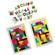 MagiDeal Colorful ABC Alphabet Cards Animal Letters Puzzle Card Recognized Figure and Wooden Tetris Puzzle Toy Brain Teaser Games Educational Toys