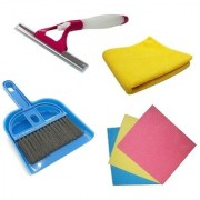 De-Ultimate Set Of Mini Dustpan and Broom Set Sponge Wipes Microfiber Cleaning Cloth And Sprayer Glass Wiper Cleaner