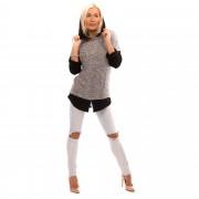 V&V Dámský úpletový svetřík - tunika s kapucí (černá žíhaná) - V&V