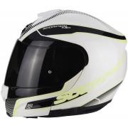 Scorpion Casco Moto Modulare Exo-3000 Air Stroll Pearl White Black Neon Yellow