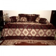 AH Diwan sets 8 Pieces Silk ( 1 Single Bedsheet 5 Cushion Covers 2 Bolster Cover) Striped Floral Design - Brown Color