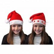 Geen Kerstmuts met witte sterren en lichtjes voor kinderen