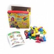 Set cub de construit colorat din lemn Mega Creative