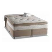 Conjunto Box Colchão Herval Molas Pocket Eruditto s Massagem + Cama Nobuck Bege Crema - Conjunto Box King Size - 193 x 203