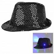Luz LED parpadeante de las lentejuelas Jazz Hat - Negro (3 * AG13)