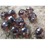 Facetterade glaspärlor - Lila med AB, 10X8mm 1 sträng