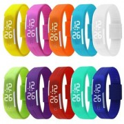 LED Waterproof Candy Color Silicone Rubber Digital Unisex Watches Only 1 Piss