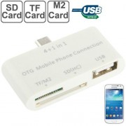 4 in 1 Micro USB OTG Card Reader for Samsung Galaxy S IV / S IV mini / S III / Note / Smartphone / Tablet PC Support TF / M2 / SD Card / USB Flash Disk(White)