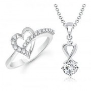 VK Jewels Solitaire Pendant Heart Ring Rhodium Plated Alloy Combo with Chain for Women Girls made with Cubic Zirconia - COMBO1473R VKCOMBO1473R8