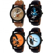 Kajaru Round Dail Black And Brown Leather StrapMens Quartz Watch For Men
