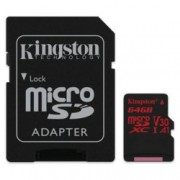 64GB microSDXC, с SD Adapter, Kingston SDCR/64GB, UHS-I V30, скорост на четене 100 MB/sec, скорост на запис 80 MB/sec